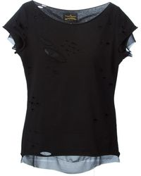 Vivienne Westwood Anglomania Hole Detail Layered T-Shirt - Lyst