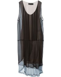 Haider Ackermann Contrast Hem Sheer Dress - Lyst