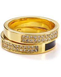 Diane von Furstenberg - Swarovski Pave Stackable Rings, Set Of 2 - Lyst