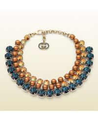 Gucci Embellished Necklace blue - Lyst