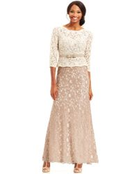 Adrianna Papell Three-Quarter-Sleeve Colorblock Lace Gown - Lyst