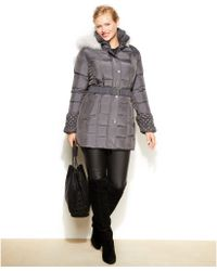 Betsey Johnson Plus Size Fauxfurtrim Hooded Quilted Puffer Coat - Lyst