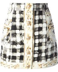Balmain Check and Chain Print Miniskirt - Lyst