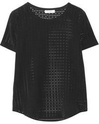 Equipment Riley Lasercut Washedsilk Tshirt - Lyst
