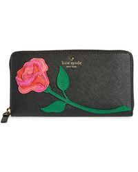 Kate Spade   'rose Applique' Leather Wallet   Lyst