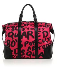 DSquared² Ronald Leather Duffel Bag purple - Lyst