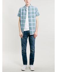 Topman Green Check Print Short Sleeve Denim Shirt - Lyst