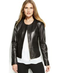 Calvin Klein Zipfront Leather Jacket - Lyst