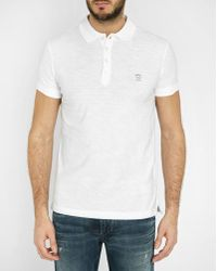 DIESEL | White T-hira Logo Slim-fit Short-sleeved Polo Shirt | Lyst
