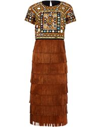 Burberry Prorsum | Fringed Embellished Suede Dress | Lyst