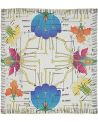 Christopher Kane - White Anatomical Carnation Violet Print Scarf - Lyst