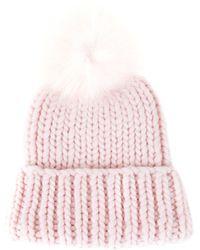 Eugenia Kim Knit Pink Fur Pom Pom Rain Beanie - Lyst