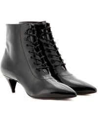 Saint Laurent Cat Leather Ankle Boots - Lyst