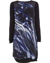Karen Millen Brushstroke Print T-Shirt Dress - Lyst