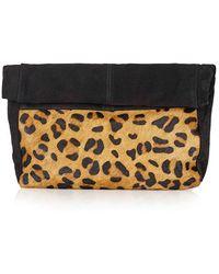 Topshop   Leopard Print Suede & Calf Hair Clutch   Lyst