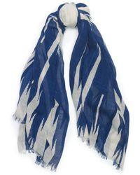 Ralph Lauren Blue Jagged-stripe Scarf - Lyst