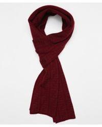 Fendi Bordeaux Wool Blend Knit Zucca Print Scarf - Lyst