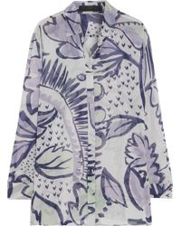 Burberry Prorsum Printed Silkgeorgette Blouse - Lyst