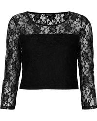 Topshop Lace 34 Sleeve Crop Top - Lyst