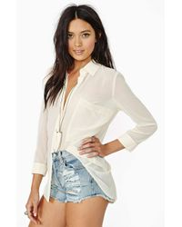 Nasty Gal Verona Blouse Cream - Lyst