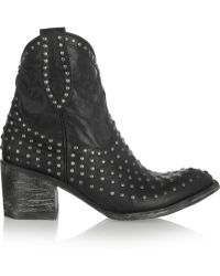 Mexicana Laguna Studded Distressed Leather Ankle Boots - Lyst