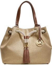 MICHAEL Michael Kors Marina Canvas Large Gathered Tote Bag gold - Lyst