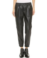 Club Monaco Sami Faux Leather Track Pants - Black - Lyst