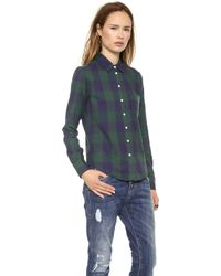 Band Of Outsiders Large Square Plaid Easy Shirt Navy Green - Lyst