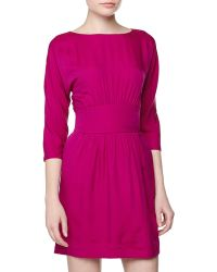 Halston Heritage Threequartersleeve Gathered Dress - Lyst