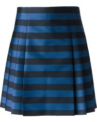 RED Valentino Striped Pleated Skirt - Lyst