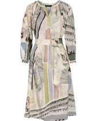 Burberry Prorsum Printed Linen and Silk-Blend Midi Dress - Lyst