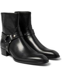 Saint Laurent Leather Harness Boots - Lyst
