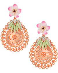 Topshop Orange Cut Out Disc Earrings - Lyst