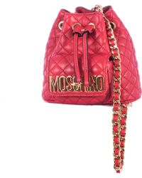 Moschino Red Stitched Leather Mini Backpack red - Lyst