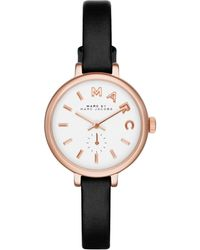 Marc By Marc Jacobs Women'S Sally Black Leather Strap Watch 28Mm Mbm1352 - Lyst