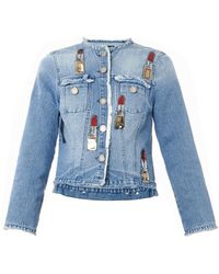 House Of Holland Lipstick-embellished Denim Jacket - Lyst