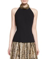 Carmen Marc Valvo - Sleeveless Beaded-neck Halter Sweater - Lyst