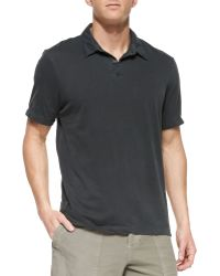 James Perse Sueded Jersey Polo Shirt Charcoal - Lyst