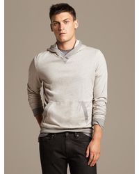 Banana Republic Hooded Sweatshirt Light Grey Heather - Lyst