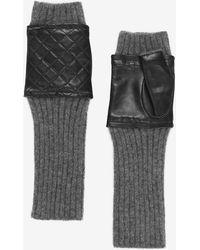 Carolina Amato - Quilted Leather/knit Fingerless Gloves: Grey - Lyst