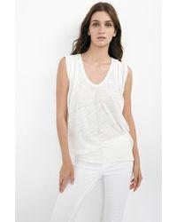 Velvet By Graham & Spencer Vita Soft Texture Knit Pleat Shoulder Tank Top - Lyst