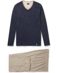 Hanro Blue Cotton Pyjamas - Lyst