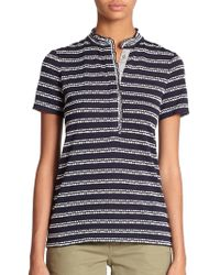 Tory Burch Lidia Patterned Polo Shirt blue - Lyst