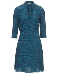 Stefanel Printed Silk Crepe De Chine Dress - Lyst