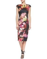 Ted Baker Cascading Floral Cap-Sleeved Dress - Lyst