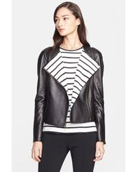 St. John Nappa Leather Jacket With Stripe Lining - Lyst