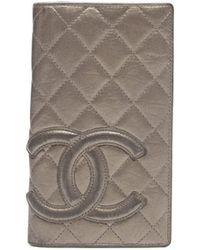 Chanel Pre-owned Bronze Calfskin Cambon Ligne Bi-fold Wallet - Lyst