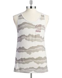 G-Star RAW Patterned Logo Tank beige - Lyst