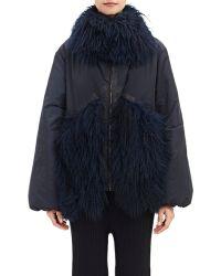 Victor Alfaro Fur-Trimmed Trapeze Jacket - Lyst