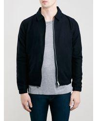 Topman Navy Wool Mix Harrington Jacket - Lyst